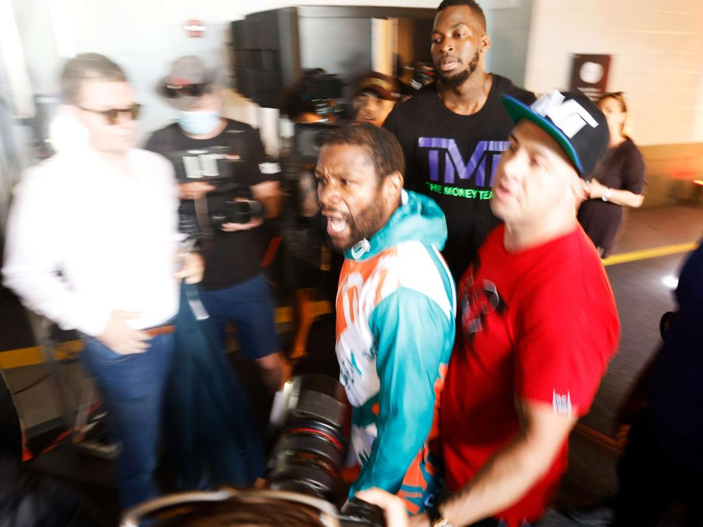 Floyd Mayweather was furious. Picture: Cliff Hawkins/Getty Images