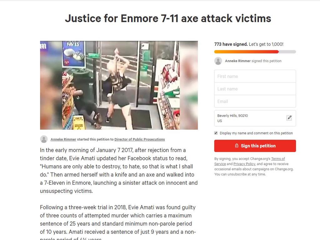 Ben Rimmer has launched a petition on change.org to have Evie Amati's sentence increased from just four-and-a-half years.