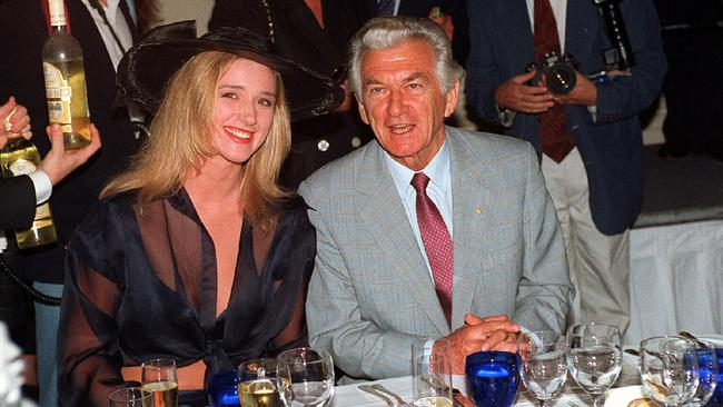 Boys will be boys: Former PM Bob Hawke with Penthouse magazine Pet of the Year Natasha Felice at the Ritz Carlton Melbourne Cup lunch in 1994.