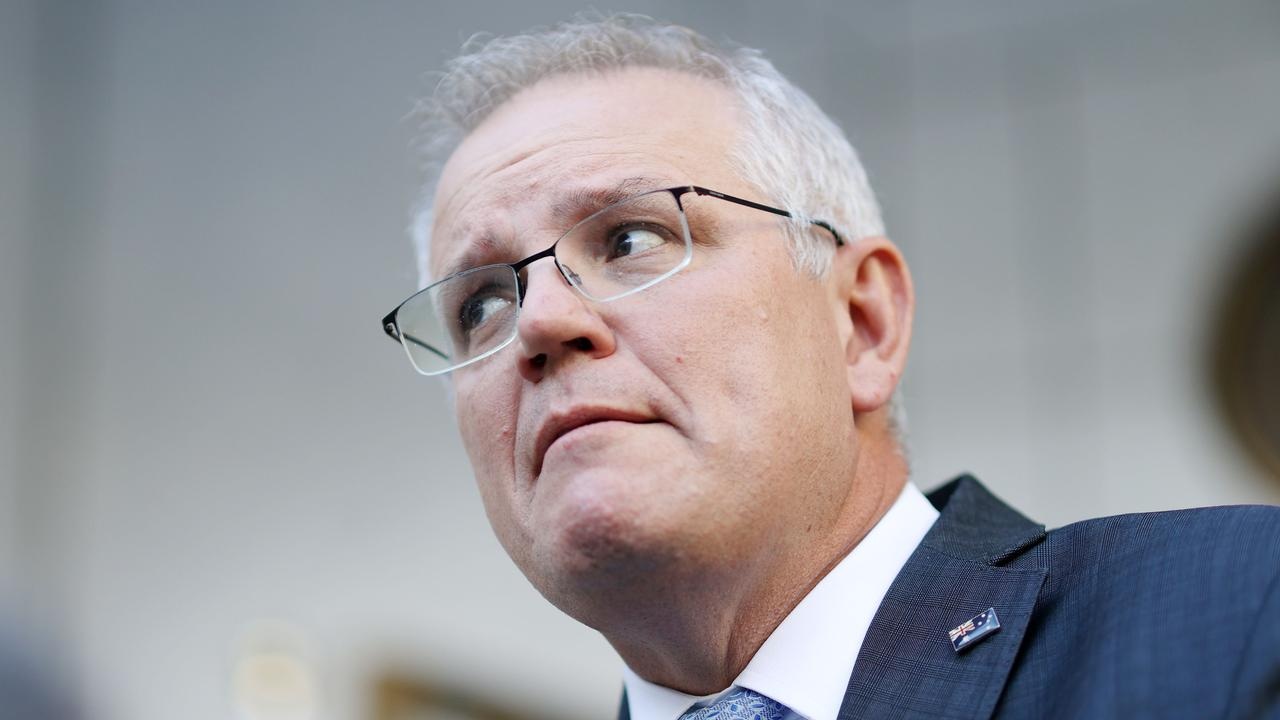 Prime Minister Scott Morrison defends the vaccine rollout at a press conference today. Picture: NCA NewsWire/Gary Ramage