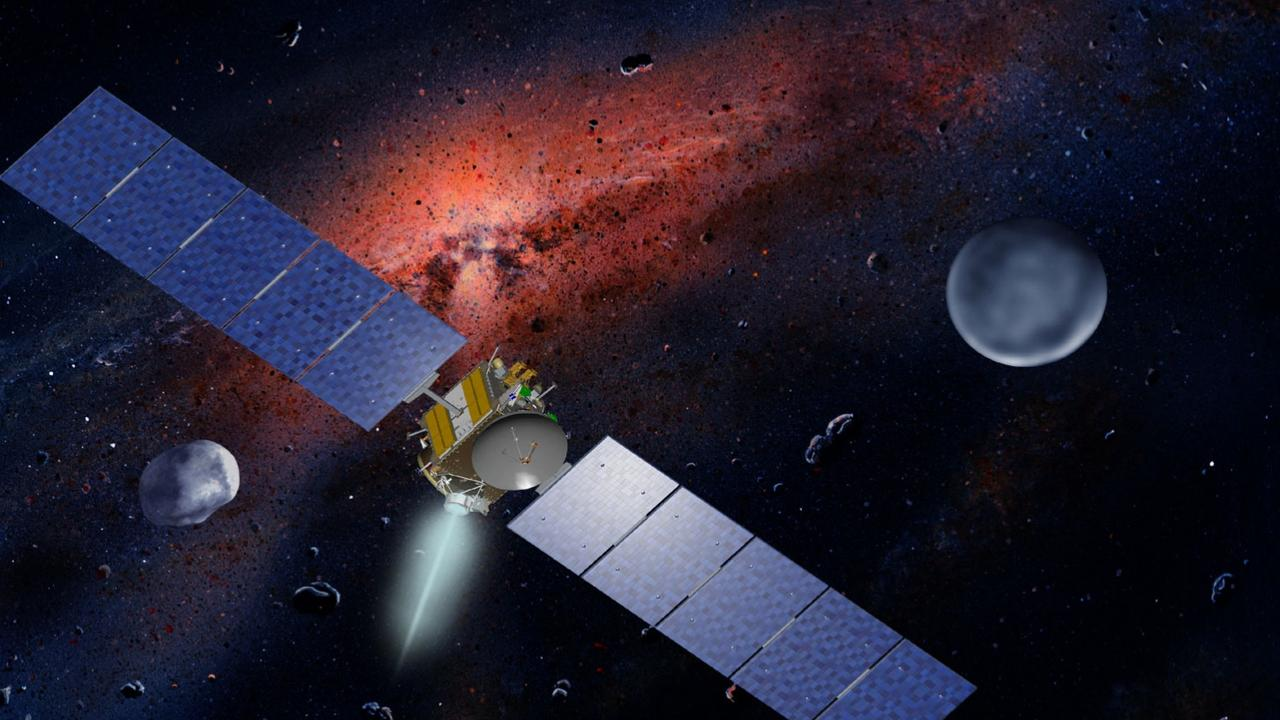 A drawing of the Dawn spacecraft with Ceres and Vesta in 2011.
