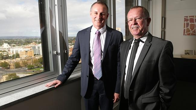 Independent MP Geoff Brock and Premier Jay Weatherill.