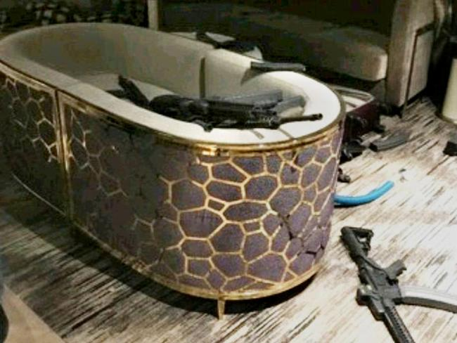 Inside shooter Stephen Paddock's room at the Mandalay Bay hotel, Las Vegas. Picture: Supplied