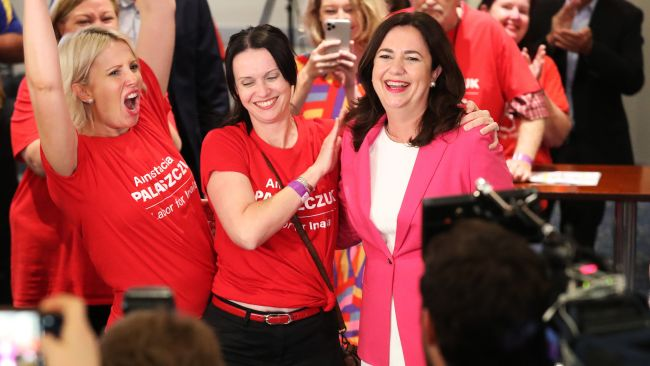 Annastacia Palaszczuk with her sisters Julia and Nadia on arrival to the election after party, Blue Fin Fishing Club, Inala. Photographer: Liam Kidston.