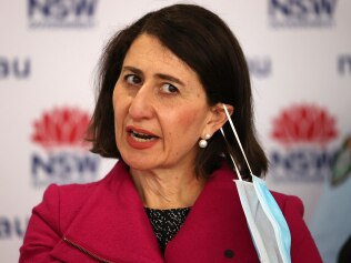 SYDNEY, AUSTRALIA - NewsWire photos AUGUST 06, 2021: Premier Gladys Berejiklian removes her mask before speaking during a Covid-19 update in Sydney. Picture: NCA NewsWire / Dylan Coker