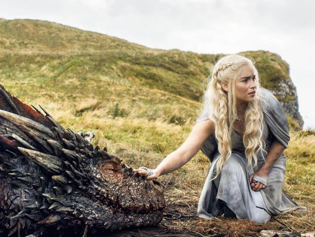 Emilia Clarke as the menacing, white-haired Daenerys Targaryen, aka Khaleesi, aka 'Mother of Dragons'. Picture: AP
