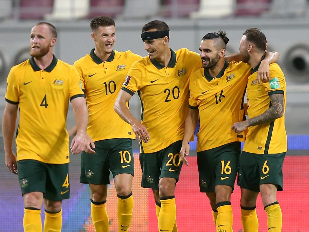 The Socceroos are in the box seat to earn automatic qualification for the 2022 World Cup in Qatar. (Photo by Mohamed Farag/Getty Images)