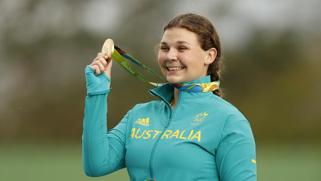 Catherine Skinner of Australia displays her gold medal following the victory ceremony for the women's trap event at the 2016 Summer Olympics in Rio de Janeiro, Brazil.