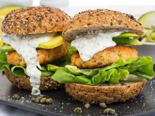 Salmon burger with zucchini and edamame bean salad. Image: Supplied.
