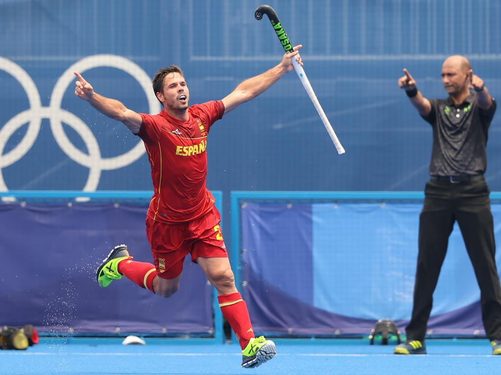Spain's Pau Quemada Cadafalch ensured a first Olympic blemish for the Kookaburras. Picture: Getty Images