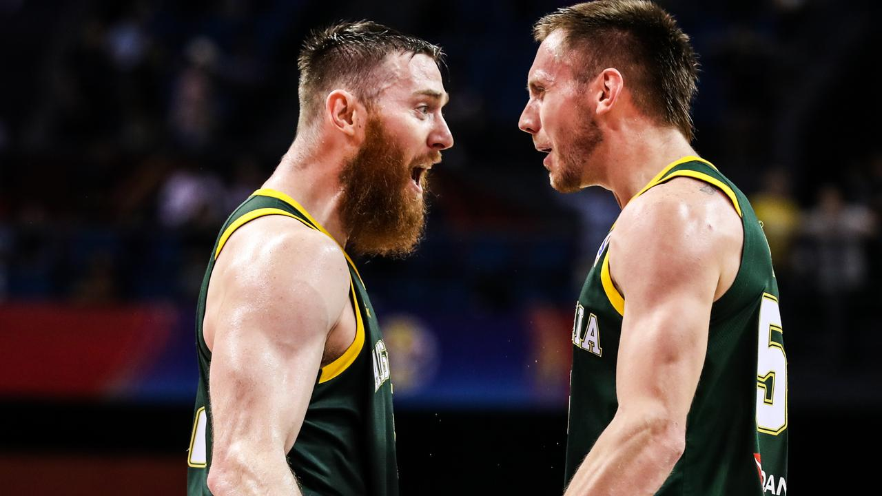 Aron Baynes (left) has joined the Toronto Raptors on a two-year deal. Picture: Shi Tang/Getty Images