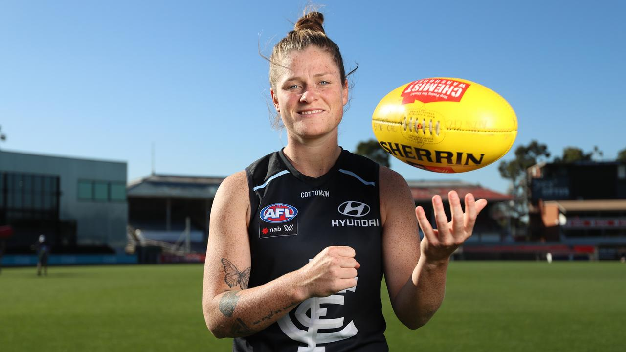 Carlton captain Brianna Davey will lead her team into its first AFLW Grand Final. Pic: Alex Coppel