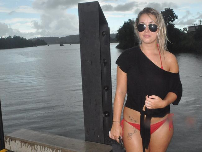 British backpacker Sophie Paterson at the Johnstone River, where she witnessed Innisfail man Lee De Paauw get attacked by a crocodile in the early hours of Sunday morning. Picture: Elisabeth Champion