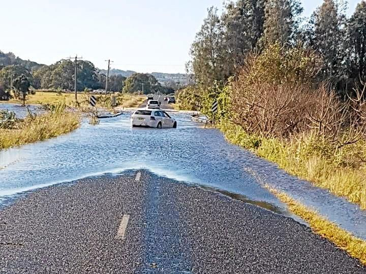 DANGEROUS DRIVING: The Lismore City SES unit posted this photo on their Facebook page, expressing their frustration about people driving through flood water. Picture: Lismore City SES