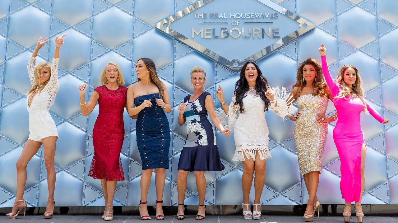 All seven ladies in the fourth season of the Real Housewives of Melbourne. Gamble Breaux, Janet Roach, Jackie Gillies, Sally Bloomfield, Lydia Schiavello, Gina Liano, Venus Behbahani-Clark. Picture: Mark Stewart
