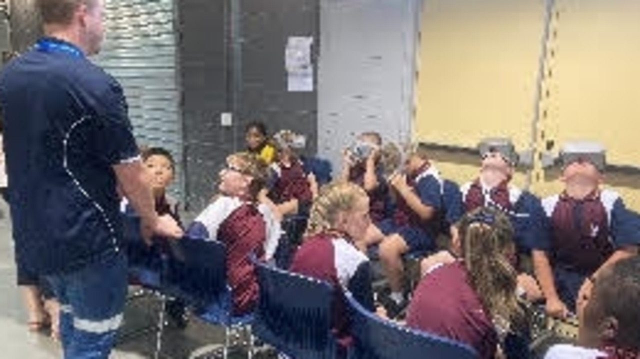Moranbah East State School students experiencing what it's like to work in an underground mine, through 360-degree, real life virtual reality headsets.