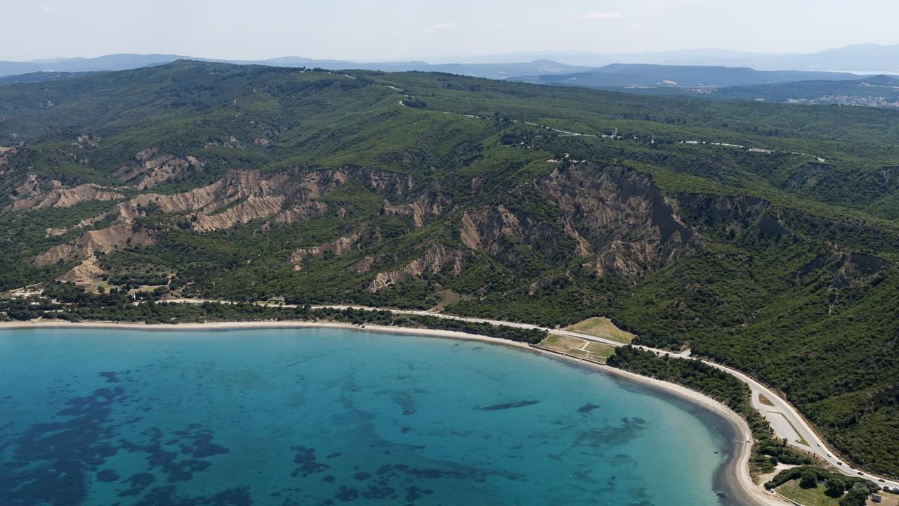 Aerial view of Anzac Cove, Gallipoli Peninsula.