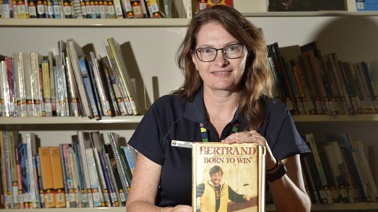 Townsville librarian Julie Zacchei with the book that went missing in 1987. Picture: Matt Taylor