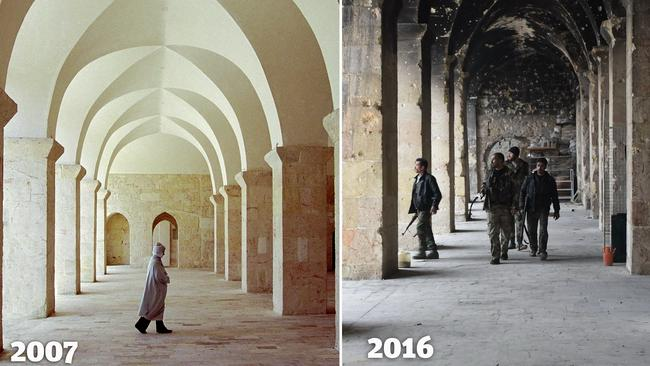 A pilgrim walks in a walkway around the courtyard of the Great Mosque or Omayyad Mosque on February 26, 2007 in Aleppo, Syria. In 2012, Aleppo became a site of fierce civil conflicts.