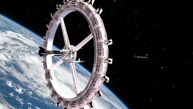 IMAGE RENDER: The company Orbital Assembly Corporation has revealed it plans to begin construction on the Voyager Station -- humanity's first space hotel -- in 2025. The celestial resort will reportedly be operational by 2027. Picture: Voyager Station