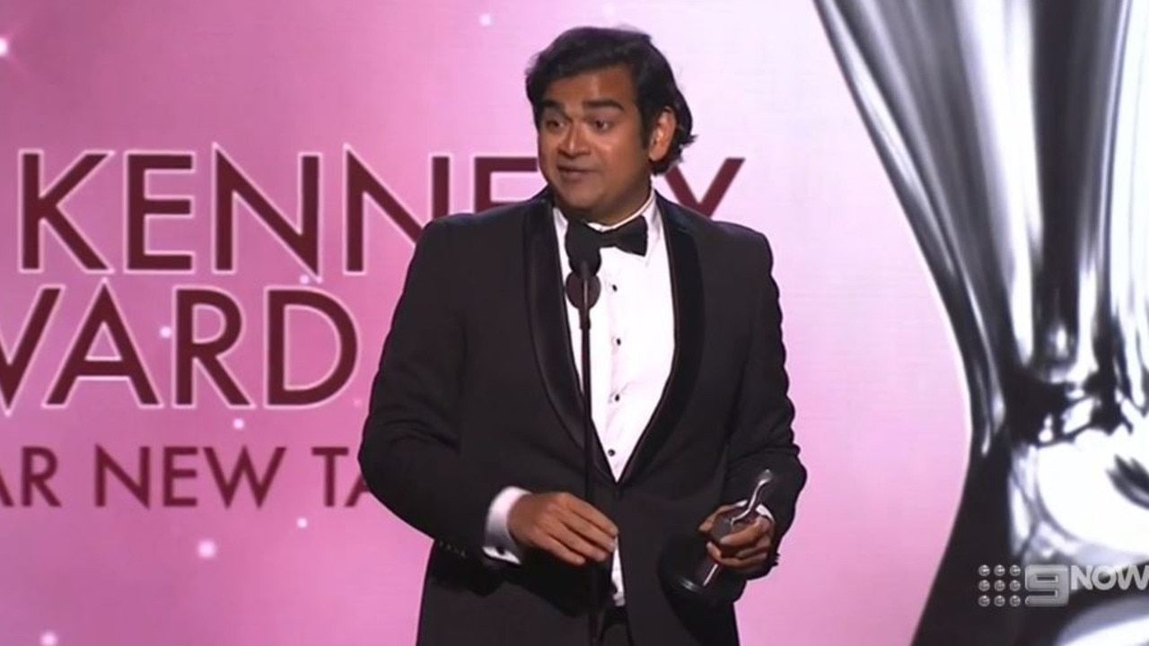 Dilruk Jayasinha poked fun at his surprise win in his acceptance speech. Picture: Channel 9