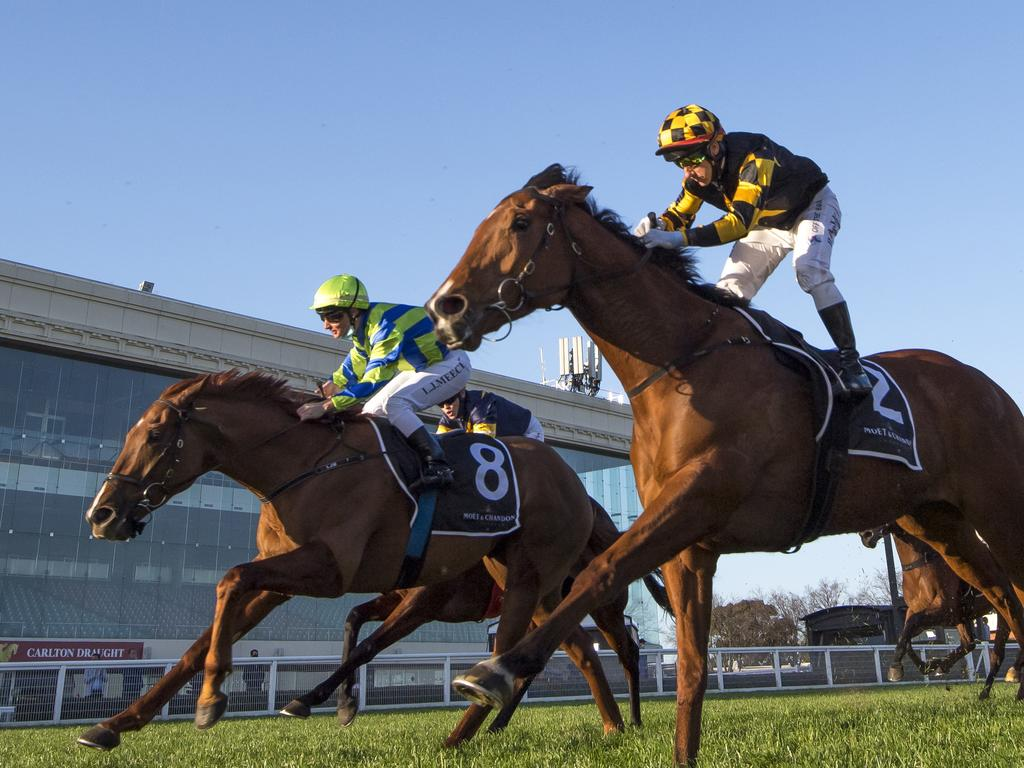 Behemoth defeats Beau Rossa (left) in the Memsie Stakes (Photo by Vince Caligiuri/Getty Images)