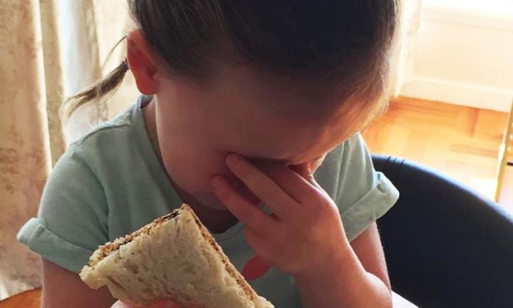 """I'm an #assholeparent because I couldn't change her sandwich to squares after she asked for triangles and changed her mind."""