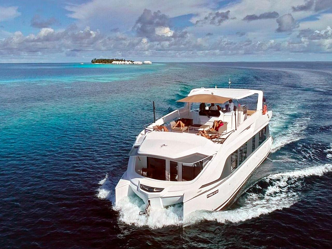 Over Reef, a 16.5 metre catamaran. Picture: Yacht Maldives