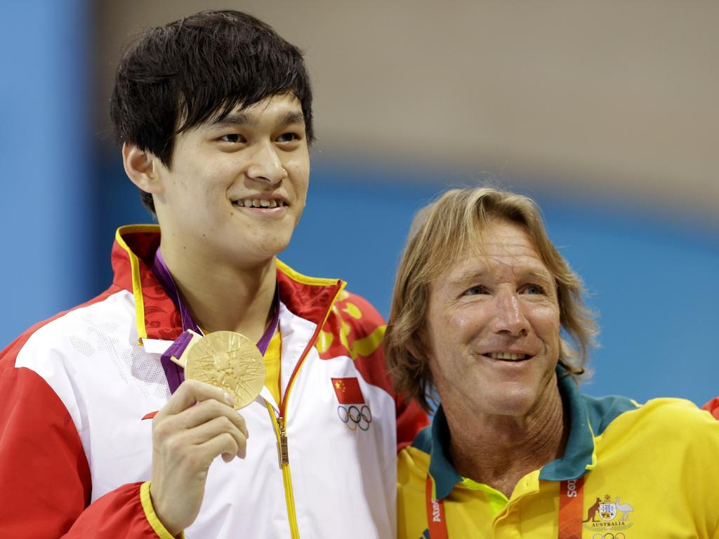Sun Yang and Denis Cotterell after the Chinese star won 1500m gold at the 2012 London Olympics.