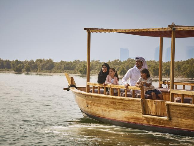 DHOW RIDE There are many ways to enjoy the attractive waterfront of Abu Dhabi, including via a dhow ride, which allows travellers to get a real sense of the expanse of the city. A dhow is a traditional Arabic boat and travellers can choose from a range of tours, either during the daytime or at twilight, where you can watch the city light up.