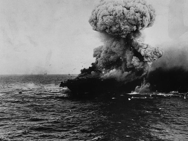 USS Lexington detonates under a fuel explosion following the Battle of the Coral Sea, May 8, 1942. Picture: Getty