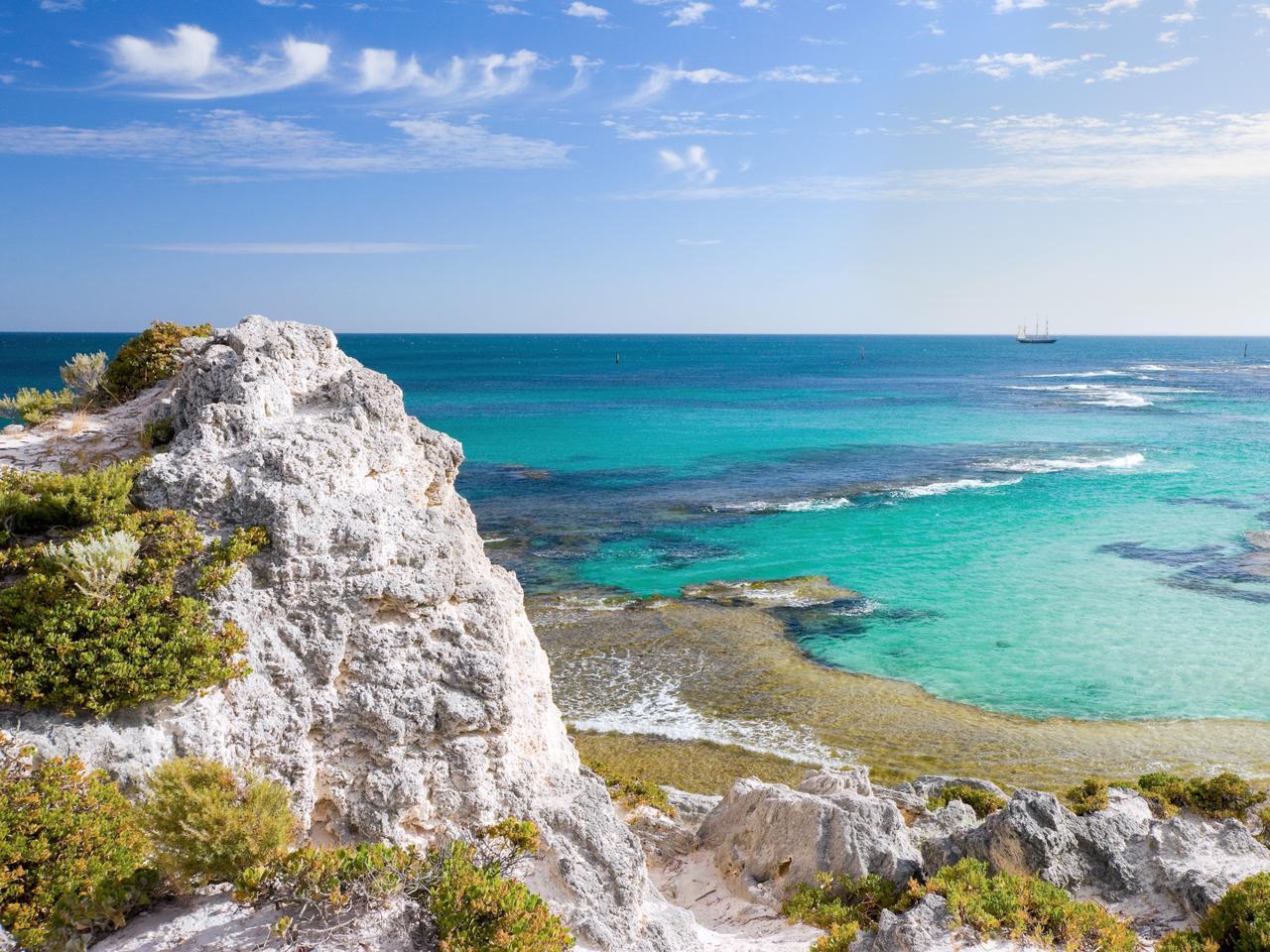 Scenic view over the shore of Rottnest island in australia