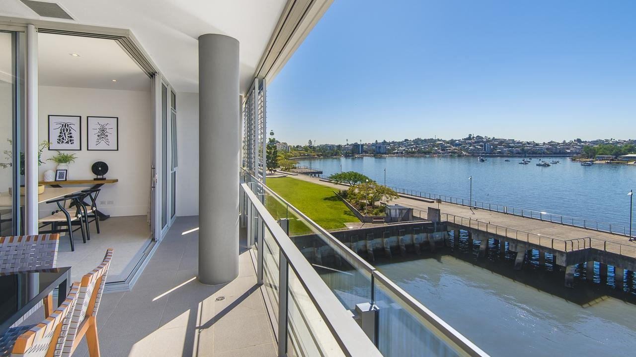 The view from the apartment at 331/1 Newstead Tce, Newstead.