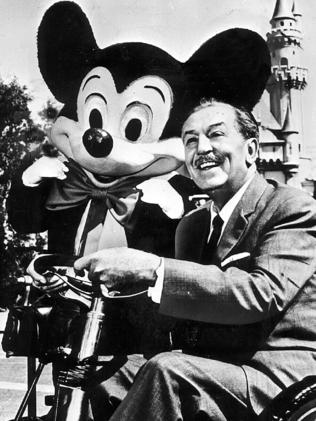 Undated photo of Walt Disney  with his company's most famous creation Mickey Mouse. 15 Oct 1994.   /Entertainment cartoon character headshot usa