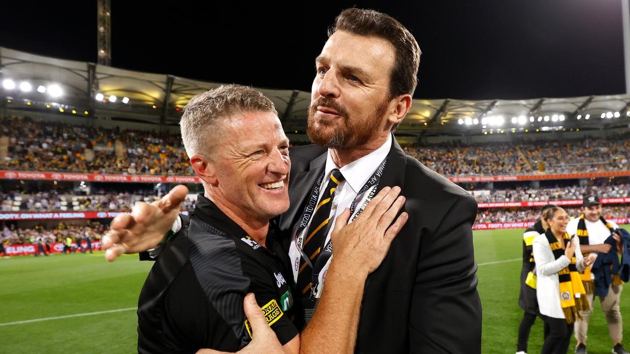 Damien Hardwick and Brendon Gale after Richmond's 2020 triumph. Picture: Michael Willson