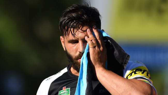 Panthers Josh Mansour comes off injured with a cheekbone injury.