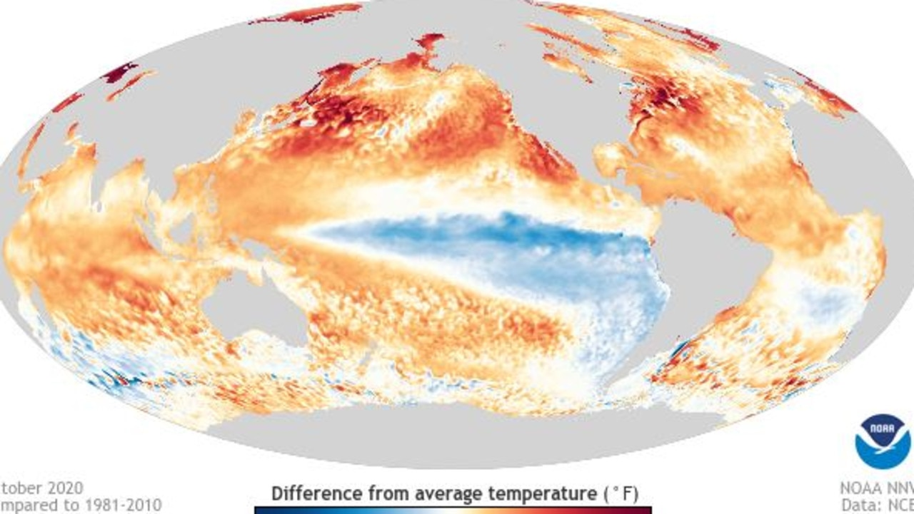 Above or below average temperature of the world's oceans in October. The light blue La Nina patch is one of the few cool spots. Picture: NOAA.
