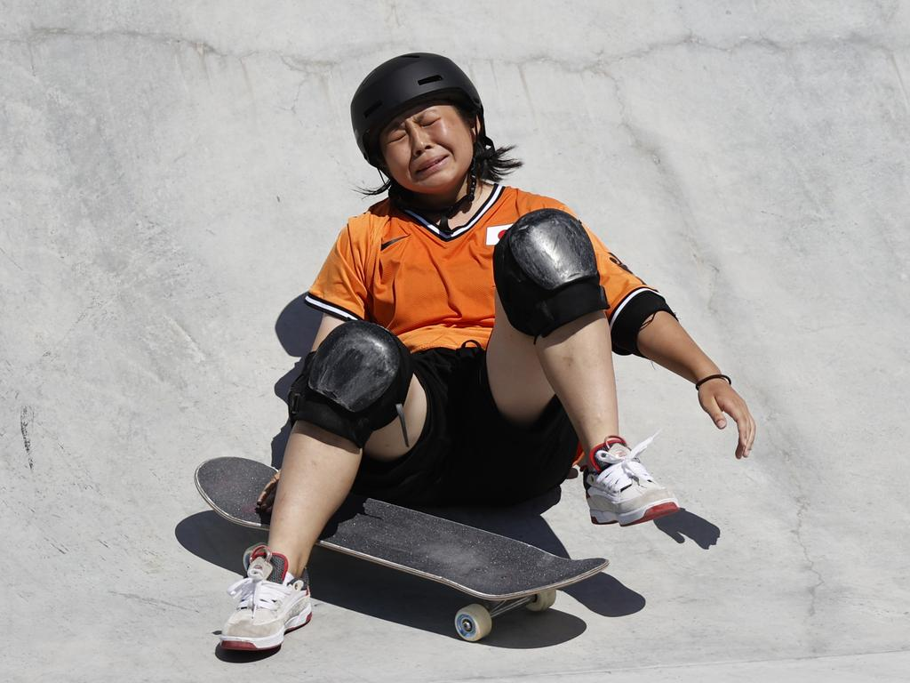 It was heartbreak for Japan's Misugu Okamoto as she crashed during the Women's park skateboarding finals event. Picture: Alex Coppel.