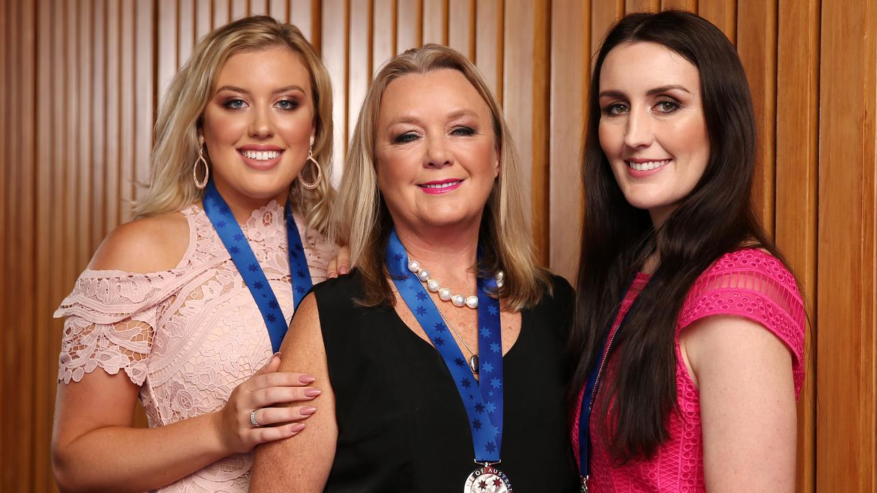 Leonie Eagles with daughters Jessica and Micaela Abbott, who have taken on advocacy for mental health in medicine since the death of Chloe. Picture: Tim Hunter.
