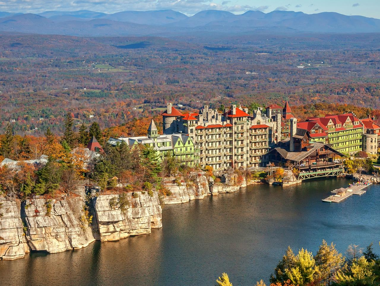 Supplied Travel WHAT'S YOUR BUDGET: NEW YORK STATE CASTLES. Mohonk Mountain House in the Fall. For story by Celes
