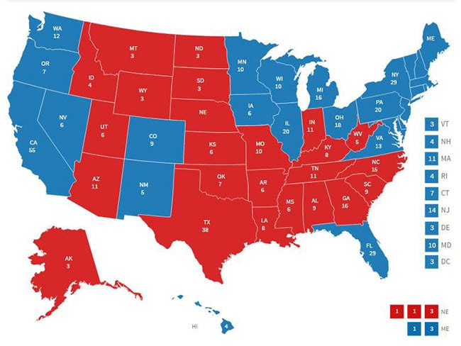The electoral map. Pic: Fox News