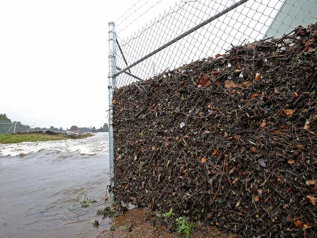 Debris caught in a fence at Ouse shows the height the river reached. Picture: SAM ROSEWARNE