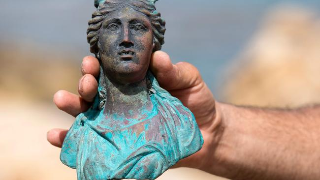 A rare bronze artefact, from a 1600-year-old shipwreck, was discovered in May.