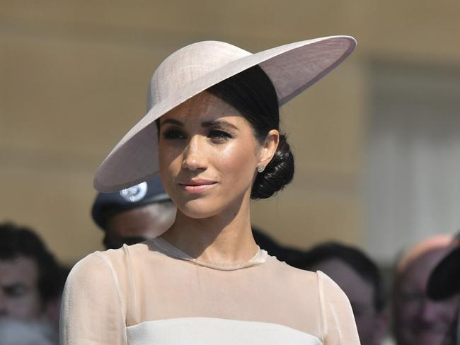 Meghan, the Duchess of Sussex attends a garden party at Buckingham Palace. Picture: Dominic Lipinski/Pool Photo via AP