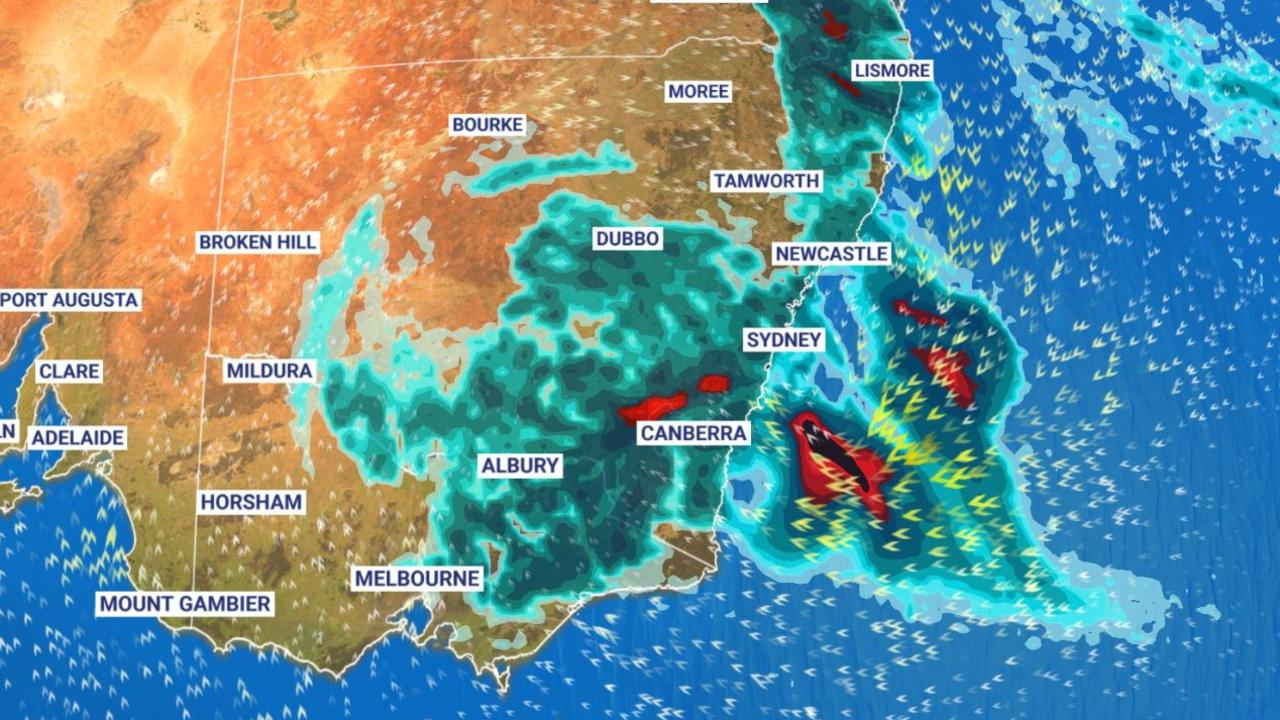 Supplied  The heavy rain shows no sign of stopping along the east coast.  Picture: Sky News Weather.