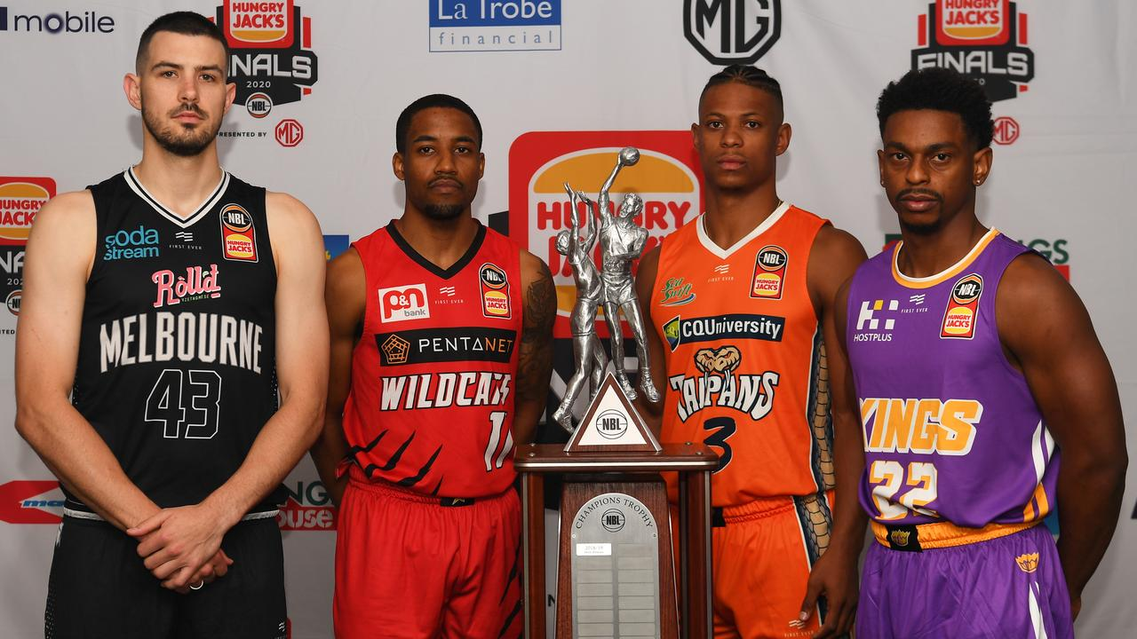 (Left to right) Chris Goulding of United, Bryce Cotton of the Wildcats, Scott Machado of the Taipans and Casper Ware of the Kings ahead of the NBL finals series.