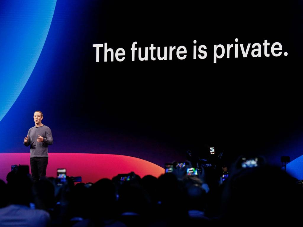 Mark Zuckerberg introduces new Facebook privacy features but the the tech giant has your information and a currency will mean adding your financial data too. Picture: AFP