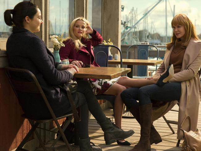 Kidman with Shailene Woodley and Reese Witherspoon in Big Little Lies. Picture:  FOXTEL