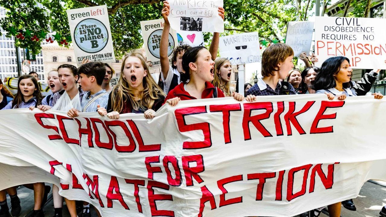 School students striking in Melbourne on November 30, 2018. Picture: Julian Meehan.