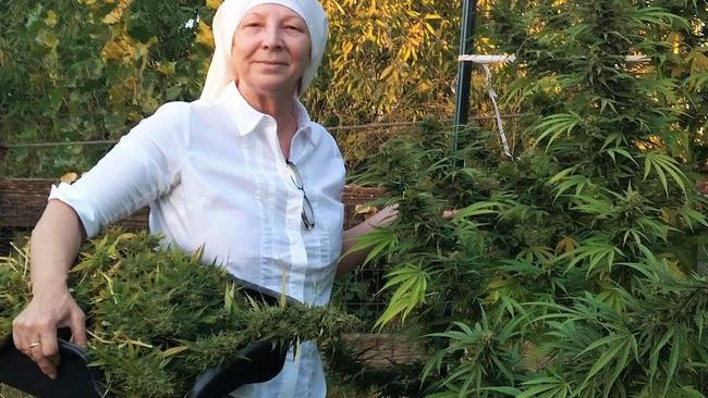 Sister Kate at the farm where they create cannabis-infused medicines. Picture: Facebook